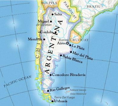 Где находится аргентина карта